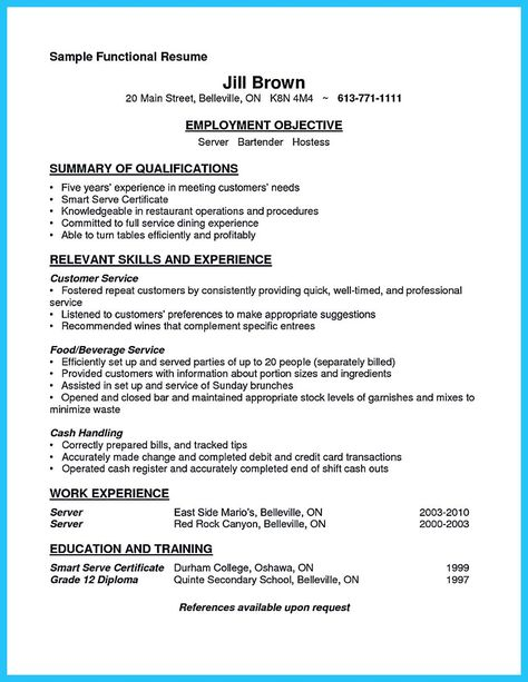 nice Impressive Bartender Resume Sample That Brings You to a - server resume examples