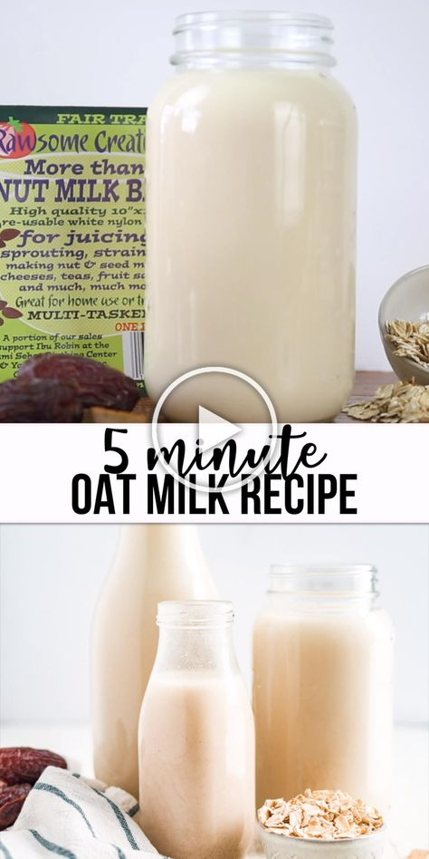 Learn how to make this homemade oat milk recipe in just 5 minutes! It's great for coffee in the mornings, smoothies or granola. This healthy and vegan milk alternative is really creamy, naturally sweet and easy to make. You can make it with dates and vanilla or add cocoa powder to make a chocolate version. #homemade #oat #milk #dairyfree #oatmeal #oats