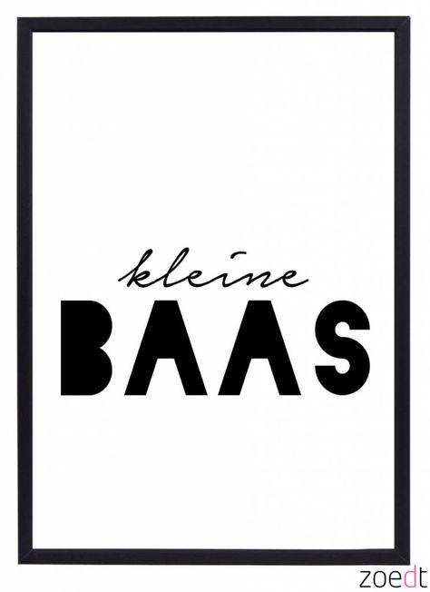 Nieuw!! Poster voor de kinderkamer met tekst kleine Baas