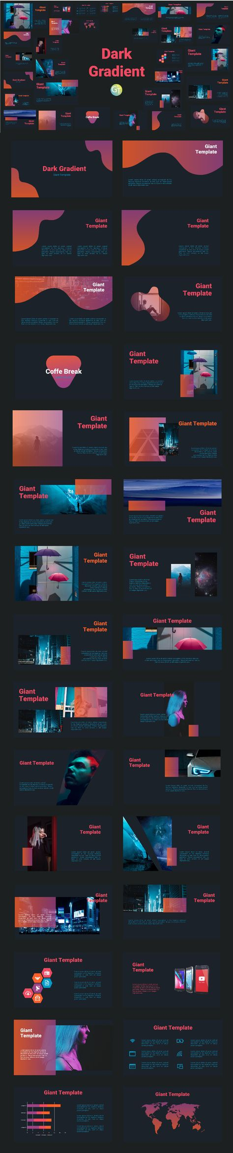 dark gradient free powerpoint download template