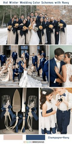 Navy Blue is a rich color that matches many colors and make your winter wedding color palette perfect. Here we've got 9 gorgeous navy blue wedding color combos to inspire you for your winter big day.