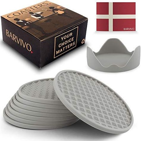 Barvivo Drink Coasters Set of 8 /w Holder - Tabletop Protection for Any Table Type, Wood, Granite, Glass, Soapstone, Sandstone, Stone Tables - Perfect Soft Coaster Fits Any Size of Drinking Glasses - Grey