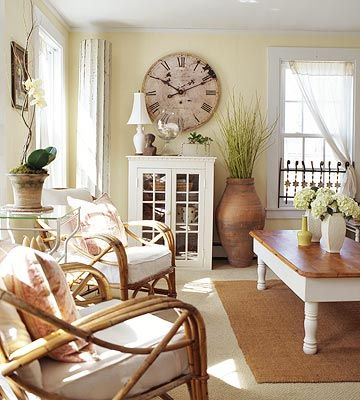 French Cottage Living Room   It can range from warm and golden to creamy soft pale to bright and ...