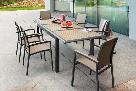 Table extensible Azua Composite Taupe Hespéride 10 places ...