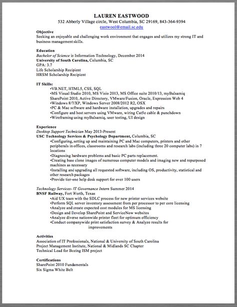 Desktop Support Technician Resume Sample LAUREN EASTWOOD 532 - vmware resume