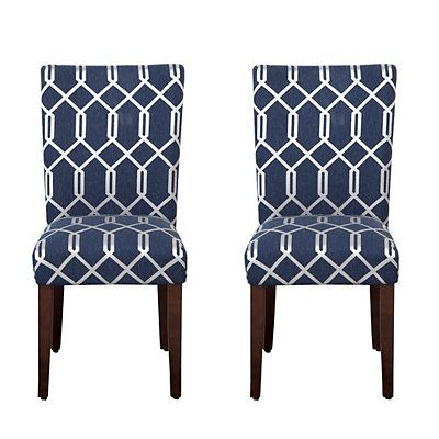 Navy Blue Lattice Parsons Chairs Set Of 2 Dining Chairs Contemporary Dining Chairs Upholstered Dining Chairs Navy blue parsons chairs