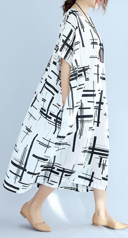 Elegant white linen dress plus size asymmetric design ...