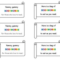 Gummy Bookworm Treat Tags