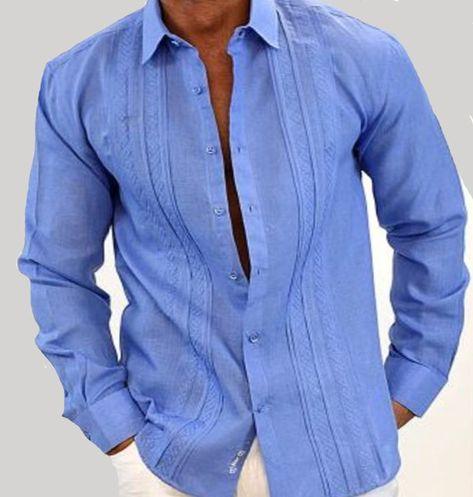 Party, Wedding, Festivities Guayabera Style Long Sleeve for men. Embroidery. Emerald Blue. Linen