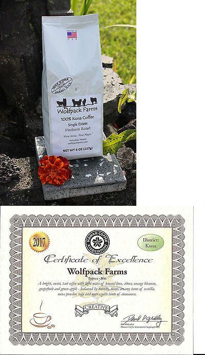 100 Kona Coffee Single Estate Award Winning Medium Roast Whole Beans 8 Oz Kona Coffee Beans Coffee Beans