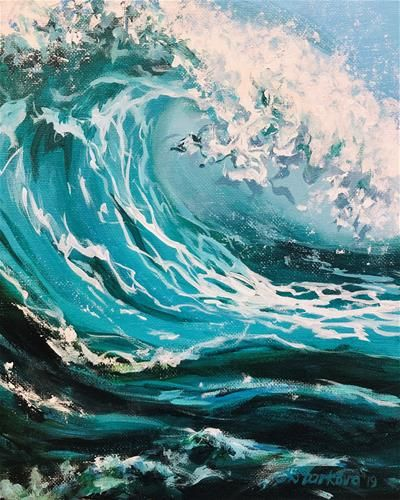 Daily Paintworks Wave Study Original Fine Art For Sale