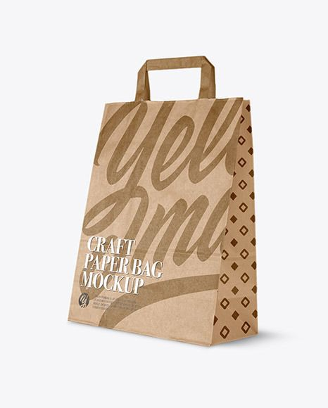 Download Craft Paper Bag Half Side View In Bag Sack Mockups On Yellow Images Object Mockups In 2021 Paper Crafts Bag Mockup Paper Bag
