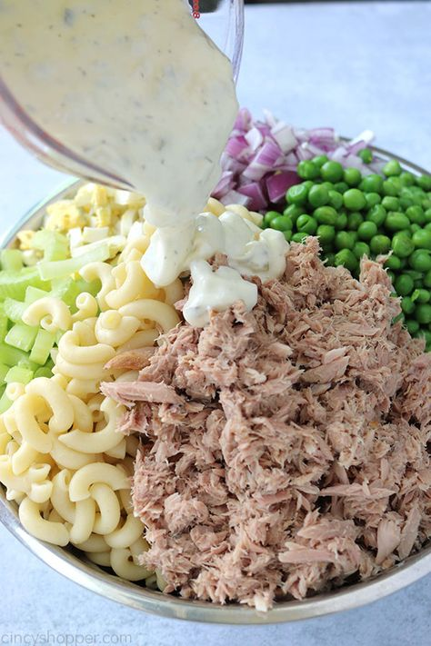 Tuna Pasta Salad - loaded with perfectly cooked macaroni tuna onion celery peas hard-boiled eggs and a simple creamy dressing. Fish Recipes, Seafood Recipes, Cold Pasta Recipes, Rotini Pasta Recipes, Best Tuna Salad Recipe, Chicken Pasta Salad Recipes, Canned Tuna Recipes, Tuna Casserole Recipes, Celery Recipes