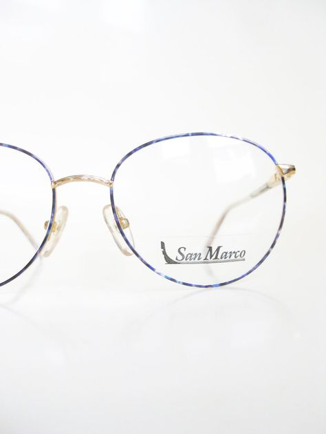 f2b43253210c Vintage 1980s Round Eyeglasses Womens Blue Sapphire Geek Chic Frames Glasses  Optical Frames Wire Rim Minimalist
