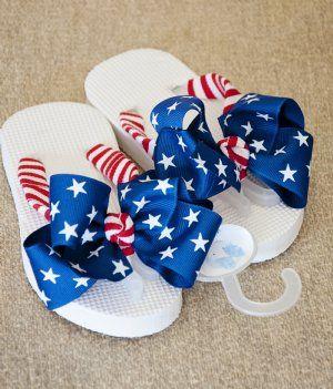 Girls 4th of July Flip Flops- could DIY by adding patriotic ribbon to plain flip flops