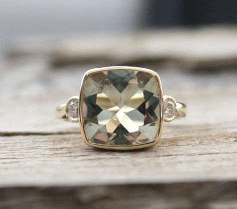3 Stone Green Amethyst Bezel and Diamond Ring in 14K by Studio1040, $1200.00