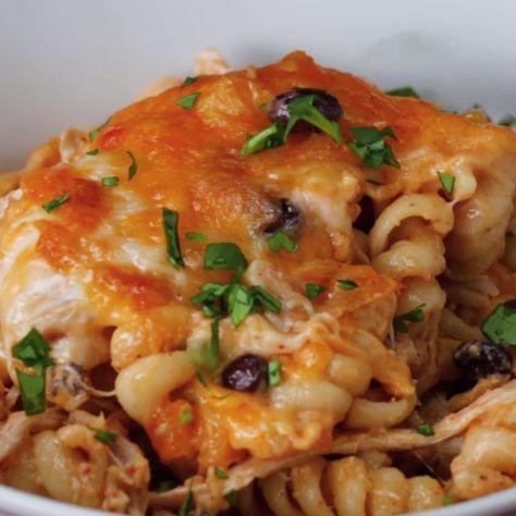 Southwest Chicken Alfredo Pasta Bake