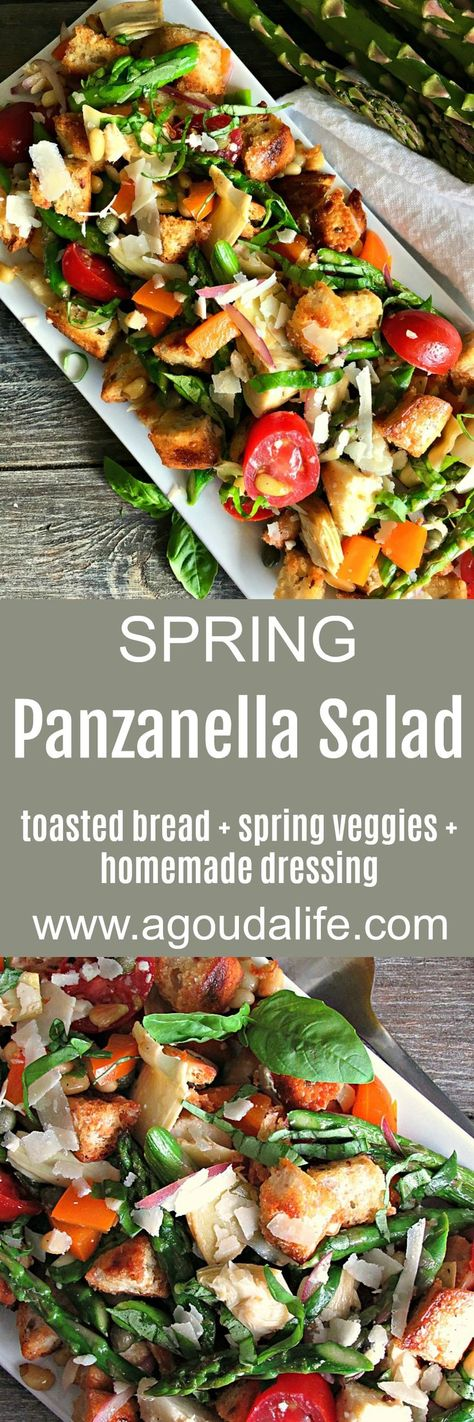 Panzanella Salad ~ golden, toasted whole grain bread cubes + fresh season veggies: asparagus, tomatoes, artichokes and more lightly dressed in an easy homemade red wine vinaigrette. #salad #breadsalad #summersalad #italianbreadsalad #panzanella #panzanellasalad