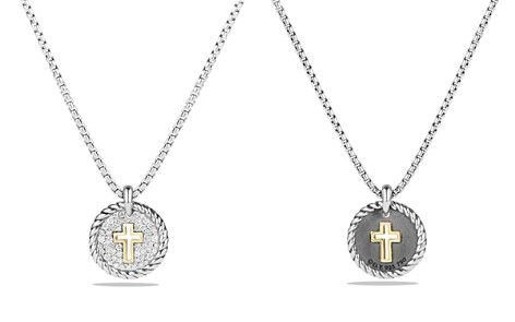 David Yurman Cable Collectibles Cross Charm Necklace With Diamonds With 18k Gold Bloomingdale S 2 Cross Charm Necklace Cross Charms Necklace