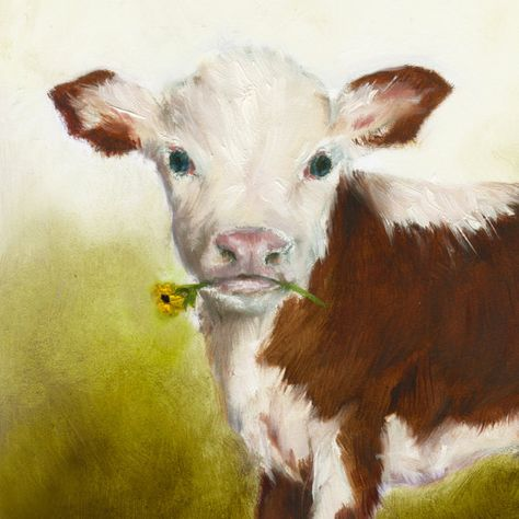 Cow Nursery Art Matted Cow Art Print Kids by NickiNickiGallery