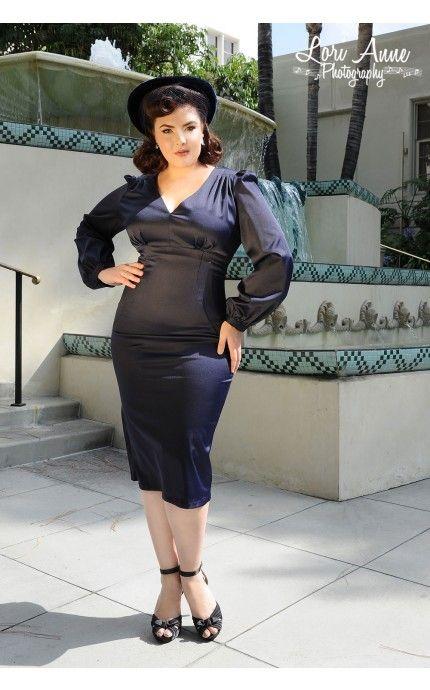 Rachael Dress in Navy Satin - Plus Size | Pinup Girl Clothing ...