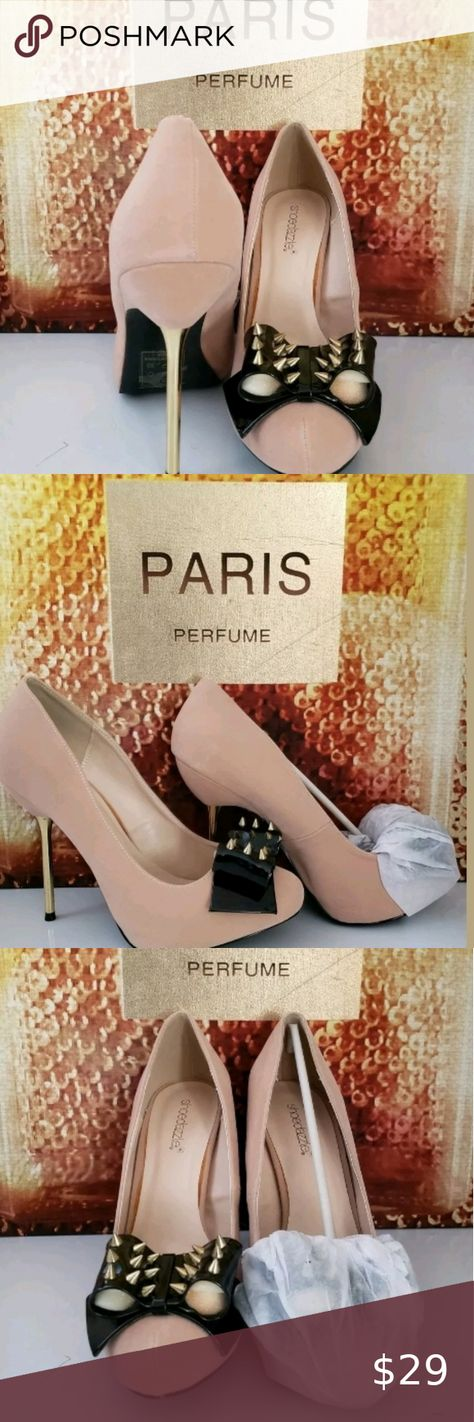 Womens High Heel Shoe 9 Shoe Dazzle Women Spiked Pump 9. Condition is NIB, Bride changed her mind   *Color is palest pink, beige undertone  *Heel is shiny spike 4 inch with platform toe, makes it a comfortable height  *Toe is closed with studded faux leather bow   JustFab Shoes Heels