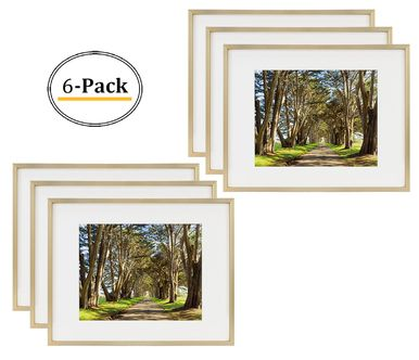 11x14 Picture Frame Gold Aluminum Shiny Brushed Fit Photo 8x10 With Ivory Mat Or 11x14 Without Mat Metal Frame By Wall Mounting Real Glass 11x14 Gold 6pcs Box