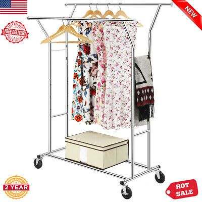 Ebay Ad Link Double Rail Rolling Garment Rack Adjustable Clothes Drying Hanger Storage Stand In 2020 Garment Racks Rolling Clothes Rack Rolling Garment Rack