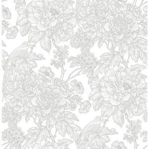 A Street Birds Of Paraside Breeze Grey Floral Strippable Roll Covers 56 4 Sq Ft 2901 25412 The Home Depot Grey Floral Wallpaper Floral Wallpaper Brewster Wallpaper