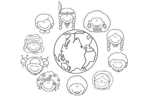 Mundo De Culturas Dibujalia Dibujos Para Colorear Paz Y No Dia De La Cultura Mundo Para Colorear Dibujos Para Preescolar