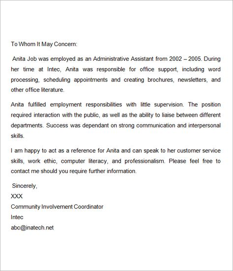 Recommendation-Letter-for-Nurses reference letter Pinterest - employment reference letters