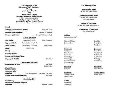 Free Catholic service wedding program templates available in Word ...