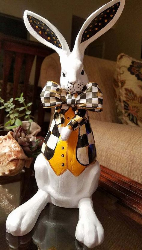 White Rabbit Alice In Wonderland White Rabbit Easter RabbitHand Painted RabbitWhimsical Black and White Check Jacket RabbitSpring Bunny by SouthTXCreations on Etsy White Rabbit Alice In Wonderland, Alice In Wonderland Party, Mackenzie Childs Inspired, Mckenzie And Childs, Paper Mache Sculpture, Rabbit Sculpture, Paper Mache Crafts, White Rabbits, Ideias Diy