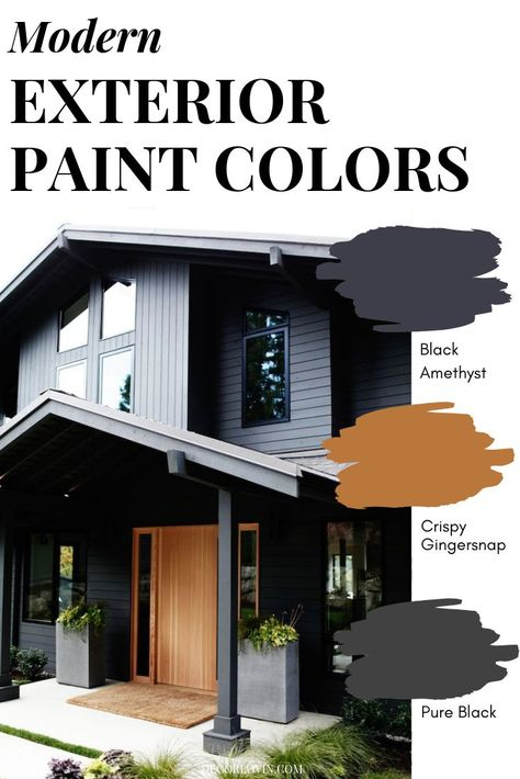 design exterior paint Exterior Paint Color Combo Having a hard time picking the right paint color for your home& exterior? This post is for you! Check out these 9 modern paint color combinations that will leave you with a flawless finish. Modern Paint Colors, Paint Colors For Home, Modern Color Schemes, Home Exterior Makeover, Exterior Remodel, Style At Home, Exterior Paint Colors For House, Black House Exterior, Exterior Paint Ideas