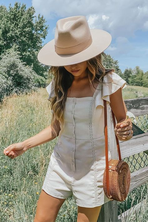 An easy breezy summer look! Lulus Called It Beige Sleeveless Ruffled Button-Up Romper is the perfect addition to add to your summer clothing. Sweet details like embroidery and ruffles add just the right amount of interest to this  lightweight romper made of a cotton linen blend. @nicoleneissany #lovelulus