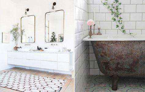 Inspiration Décoration Salle De Bain Par Mademoiselle Claudine / Un Style  Vintage, Baingoire Ancienne Métal Et Miroir De Barbier. Inspired Décor  Bathroom By ...