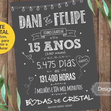 Chalkboard Bodas De Cristal Arte Digital Com Imagens Bodas