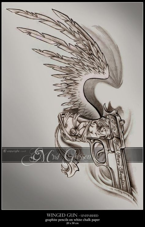 I want this with more detail in the wing, a revolver instead, and a simple design or saying on the handle