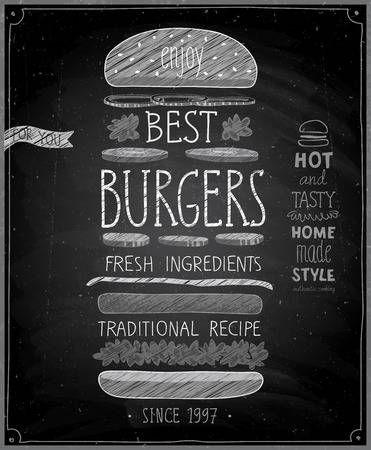 Burgers Meilleure Affiche Style De Tableau Vector Illustration Restaurant Tableau Ardoise Restaurant Hamburger Dessin