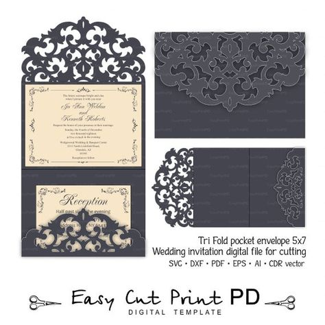 Wedding Invitation Template Envelope Tri Fold Ornamental For Laser