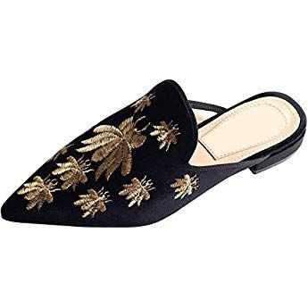 c45e7ce05d720 Ayercony Loafers for Women, Embroidery Mules Velvet Backless Slip On ...