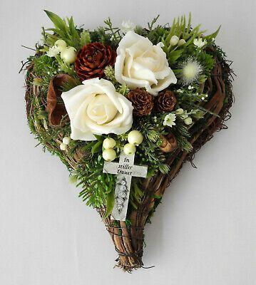 Herz künstliche pflanzen  blumen Grabaufleger Advend 40cm