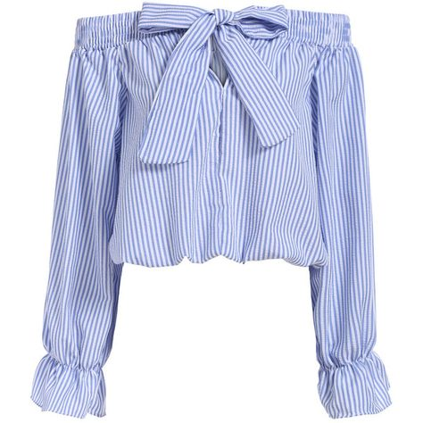 Boat Neck With Bow Vertical Striped Blue Top (£11) ❤ liked on Polyvore featuring tops, blouses, shirts, blusas, crop top, blue, vertical stripe shirt, blue collared shirt, long sleeve shirts and blue shirt