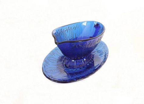 Avon Royal Sapphire Gravy Boat /& Underplate Cobalt Blue