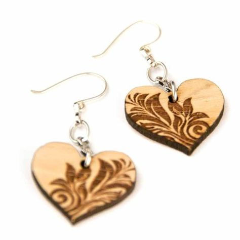Heart of Texas Cherry Wood Earrings