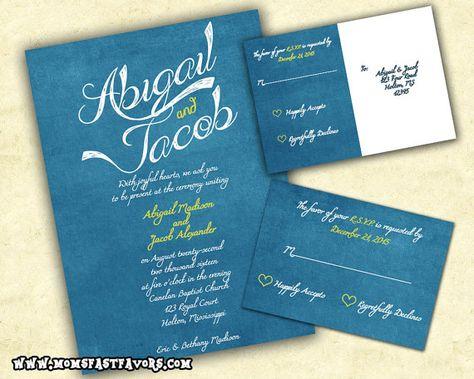 Elegant Blue Wedding Invitation Cerulean