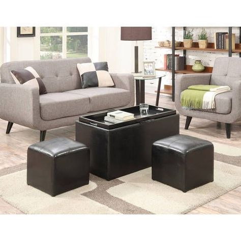 Swell Ottoman Bench 3 Pc Set Cube Small Storage Black Footstools Alphanode Cool Chair Designs And Ideas Alphanodeonline