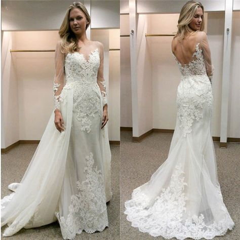 2018 Vintage Mermaid Wedding Dresses Detachable Train New Arrival Off Shoulder Long Sleeves Backless Beads Tulle Bridal Dresses