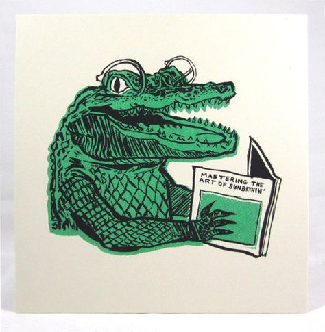 Mastering The Art Of Sunbathing - Risograph Riso Small Art Print - Risograph Sunbathing Gator Print by MysticMultiples on Etsy Imágenes efectivas que le proporcionamo - Silkscreen, Arte Sketchbook, Small Art, Grafik Design, Art Plastique, Art Inspo, Painting & Drawing, Art Reference, Screen Printing