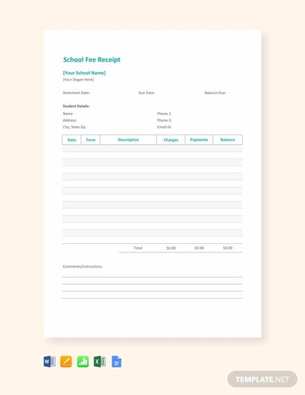 School Fee Receipt Template Word Excel Apple Pages Google Docs Apple Numbers School Fees Receipt Template Templates